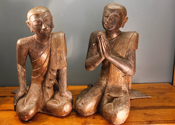 Amazing Very Large Pair of Antique Wood Carved Buddhas