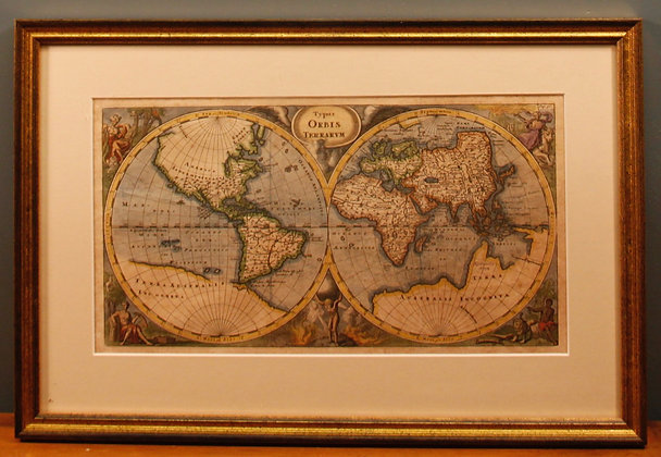 Framed World Map DeLat C1730. Hand Coloured.