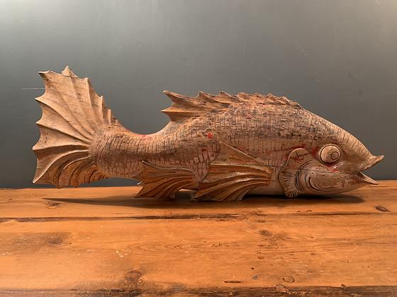 Large Wooden Fish, Great Patina