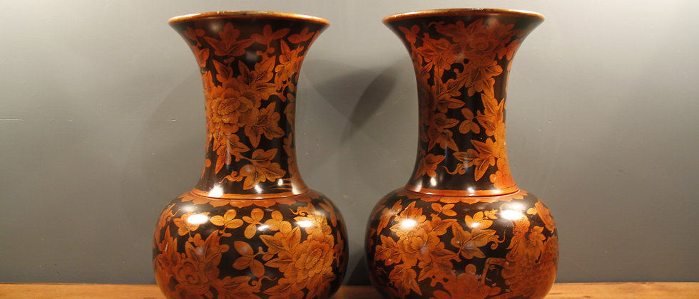 A Pair of Beautiful Wooden Painted Large Vases