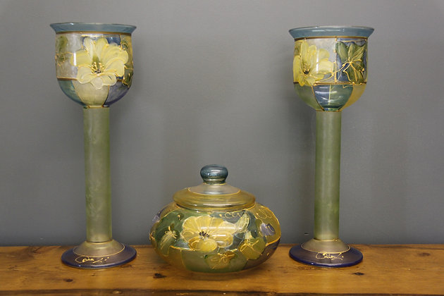 Uranium Glass Beautifully Hand Painted Glass Goblets and Lidded Bowl.