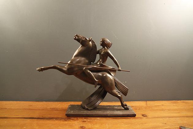 Bronze Female Warrior on Horseback