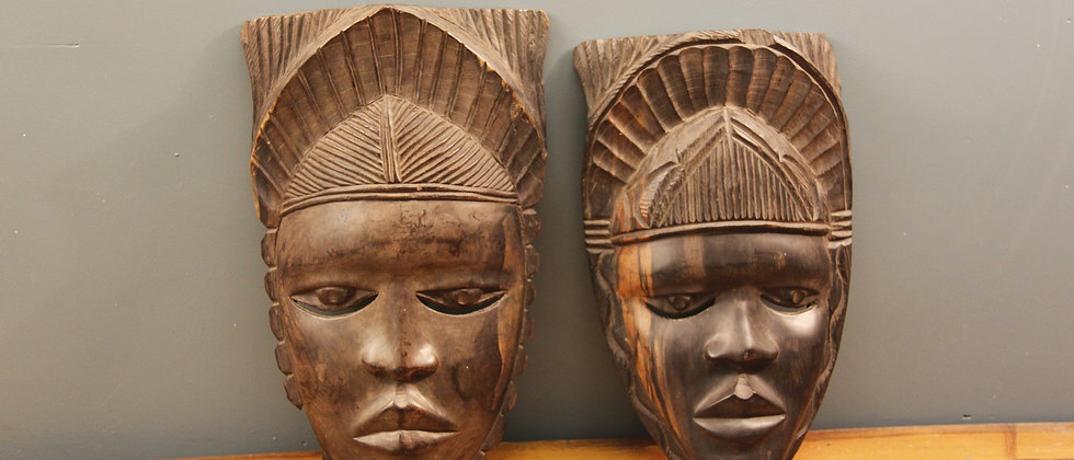Pair Dark Wood Tribal Masks