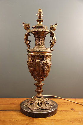 Large Heavy Brass and Marble Lamp