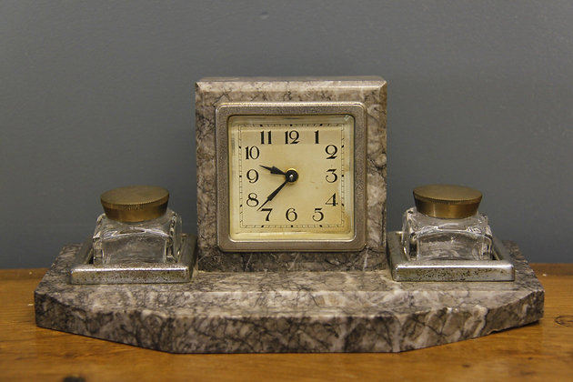 Small Marble Deco Mantle Clock with Inkwells