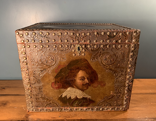 Large Wooden Box With Cavalier Printed and Painted on 5 sides