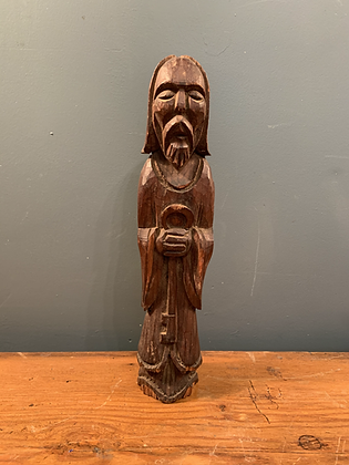 Wooden St. Peter Figure Holding the key to Heaven.