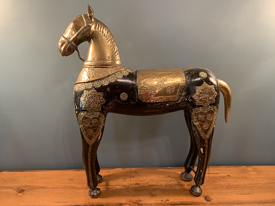 Characterful Brass and Wooden Indian Horse