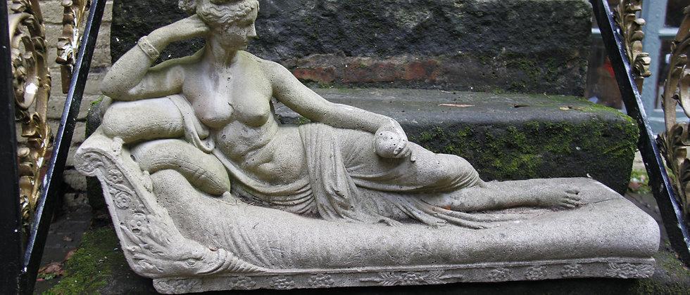 Reclining Lady Garden Ornament. Concrete.