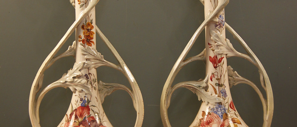 Pair of Iris Vases Possible French