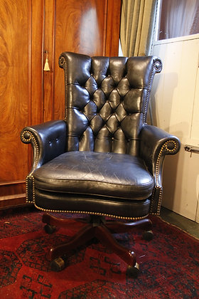 Gorgeous Black Leather Chesterfield Swivel Desk Chair