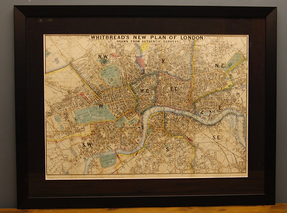 Original Framed Whitbreads Plan of London 1873