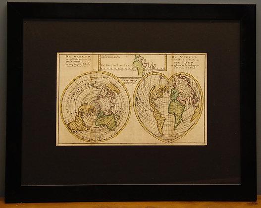 Framed map by DeLat. D'Wareld. C1730