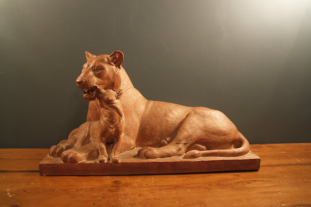 Terracotta Lioness with Cub. Signed by the French Sculpture Henri Bargas