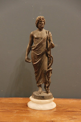 Hermes holding Caduceus Symbol of Medicine and Healing in Bronze and Marble