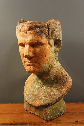 Terracotta Head with Lichen Growth Great Patina