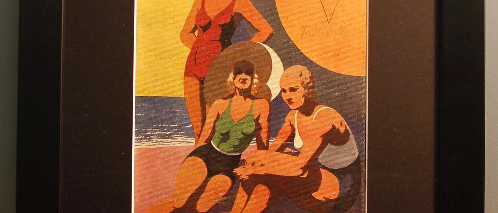 Original 1920's Print. (Swimming)