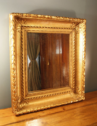 Large, Heavy Antiqued Mirror in Old Gilt Frame.