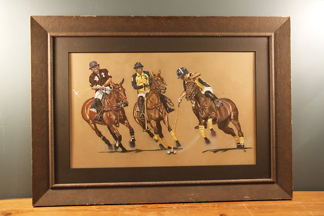 Pastel Picture of 3 Polo Players By Carol Mason