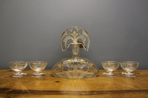Art Deco Decanter and Four Glass. Hand Painted Austrian