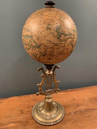 Replica 16th Century Globe Mounted on Heavy Brass Stand.