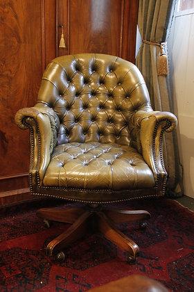 Beautiful Green Leather Swivel Chair.