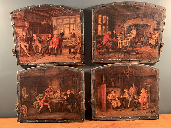 Set of Four Chromolithographs Doors off a Cabinet.