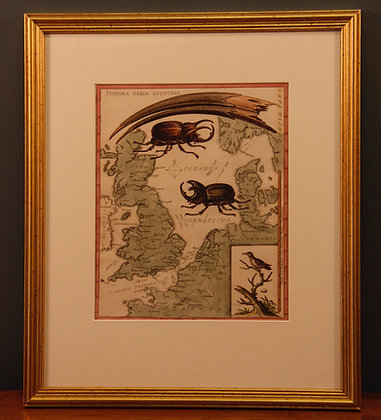 Edwards map of Great Britain, framed C1746
