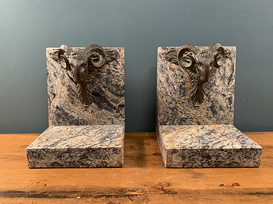 Stunning Heavy Stone Rams Head Book Ends