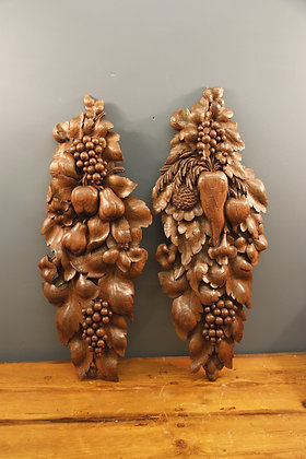 Gorgeous Oak Fruit Carvings. Wall decorations