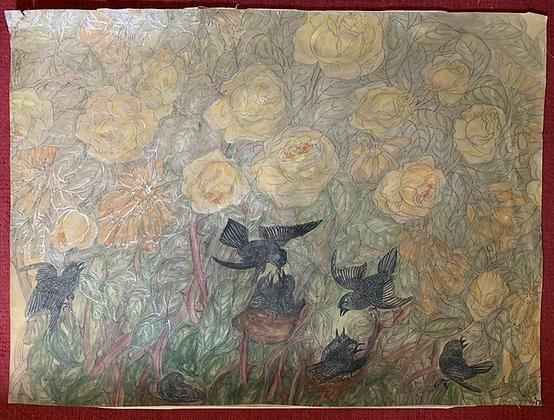 Gouache/Watercolour Original Art. Signed.