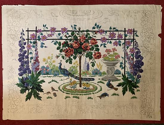 Beautiful Original Wallpaper Design Sample. Hand Painted. Early 20th Century