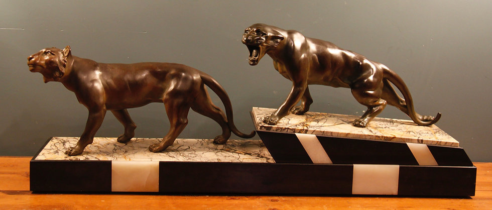 Art Deco c1930's. Spelter and Bronze Finish on Marble. Signed Thomas Cartier