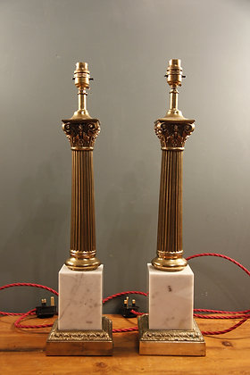 A Pair of Elegant Brass and Marble Lamps