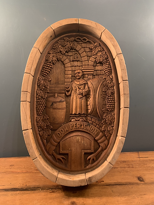 Stunning Dom Perignon Wooden Carving