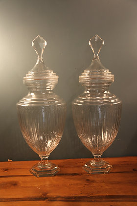 Two Very Large Glass Vases with Lids.