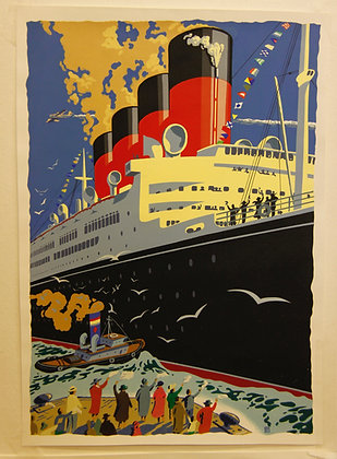 Vintage  Poster of the QE2 (not framed)