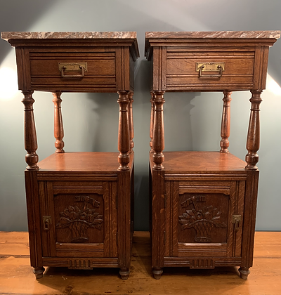 Lovely Arts and Crafts Pair of Bedside Tables with Marble Tops