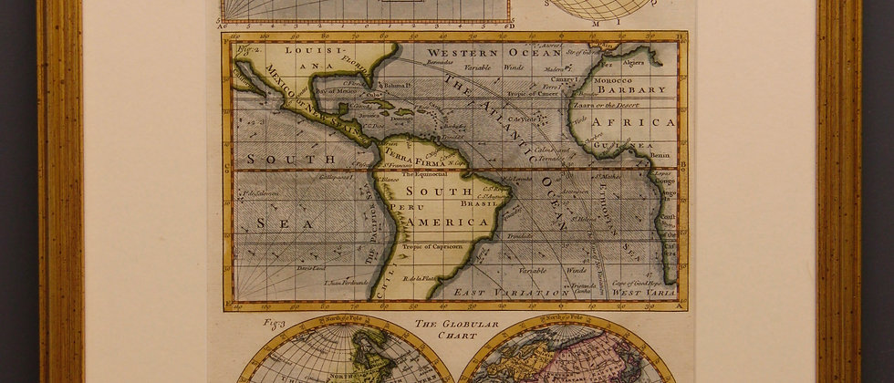 Framed Engraving, Cartographic Chart 1780