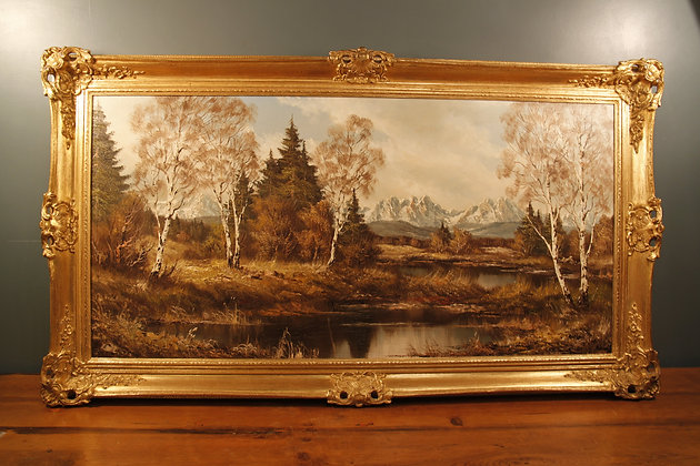 Charming Landscape Oil Painting by Fritz Zschiesche in a Gilt Frame