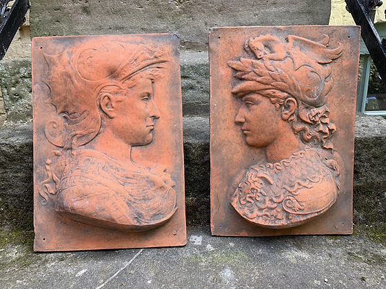 Two Stunning Terracotta Face Plaques, Lovely Colour.