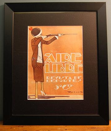 Aire Libre. Original 1920's. (Lady shooting)