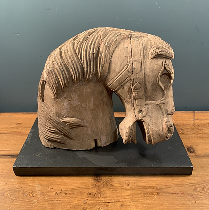 Wooden Horse Calving on a Stone Base.