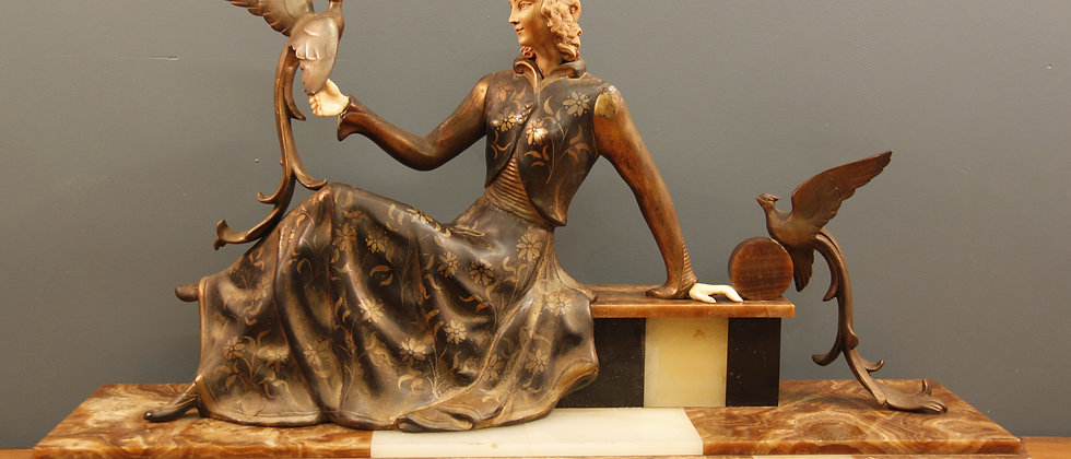 Beautiful Deco Lady with Marble Base and Bronze Birds