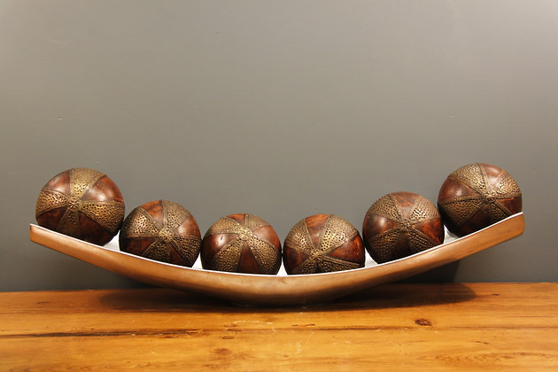 Brass and Wooden Decorative Balls in a Tray.