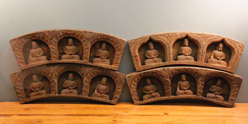 Wooden Carved Buddha's Most Likely a Door Arch
