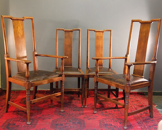 Morris & Co. Chairs. Oak and Leather, beautiful patina C1880