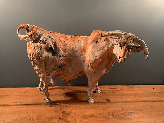 Large and Colourful Ceramic Bull By Ostinelli and Priest