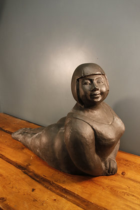 Gorgeous Large Lady in a Swimsuit, made of terracotta and painted.