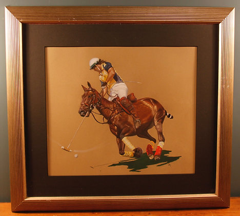 Pastel Picture of Single Polo Player By Carol Mason